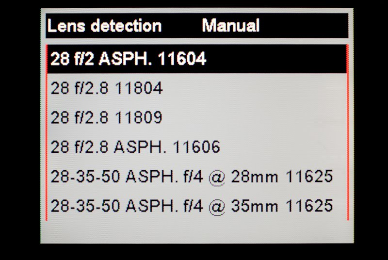 I won't bore you with all the manual lens selection menus, but there are 36 lens choices available
