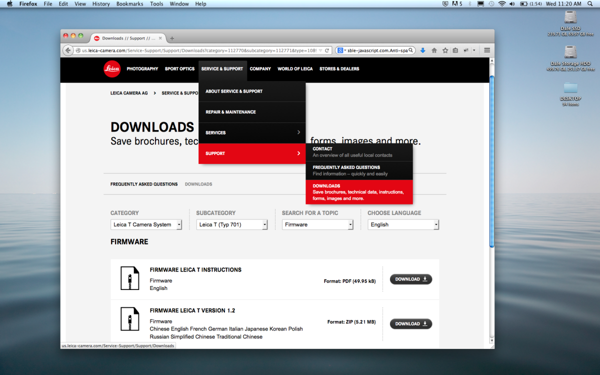 Download firmware from Leica Camera's website.