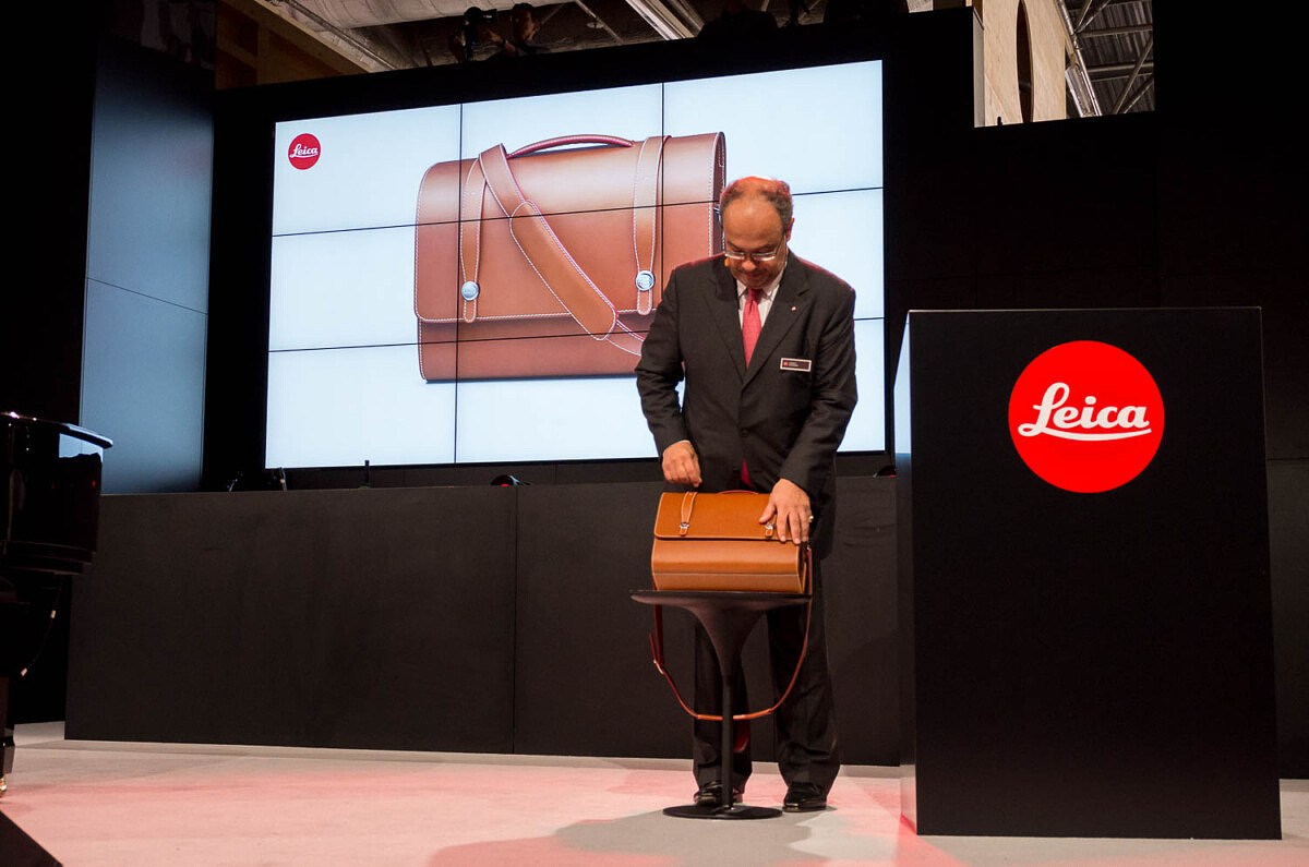 Dr. Kaufmann showing off limited editino Schedoni bag