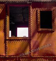 D9228 Shadows on Metal Train Wagon. Suncoast Railroad Museum. Miami. Florida. USA