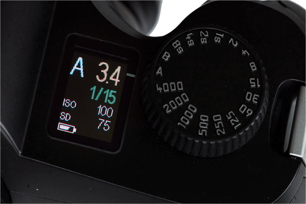 Color OLED and analog shutter speed dial