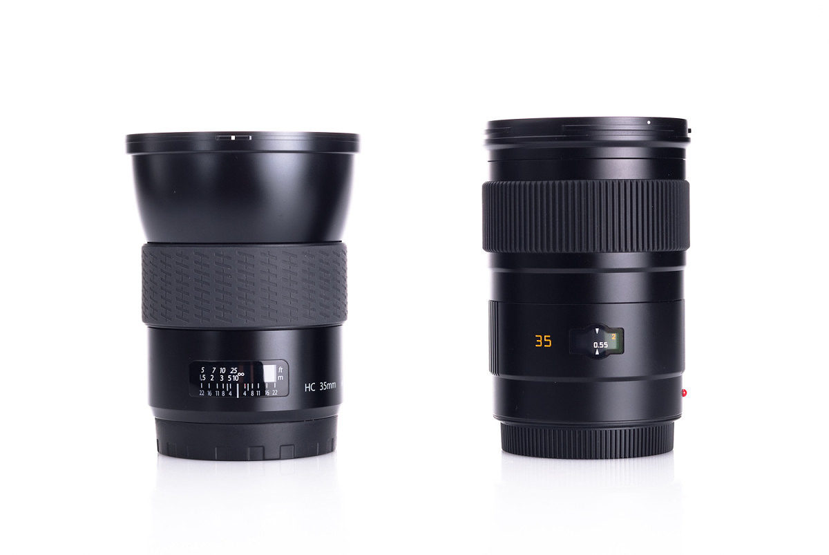 Leica 35mm f/2.5 next to Hasselblad HC 35 f/3.5