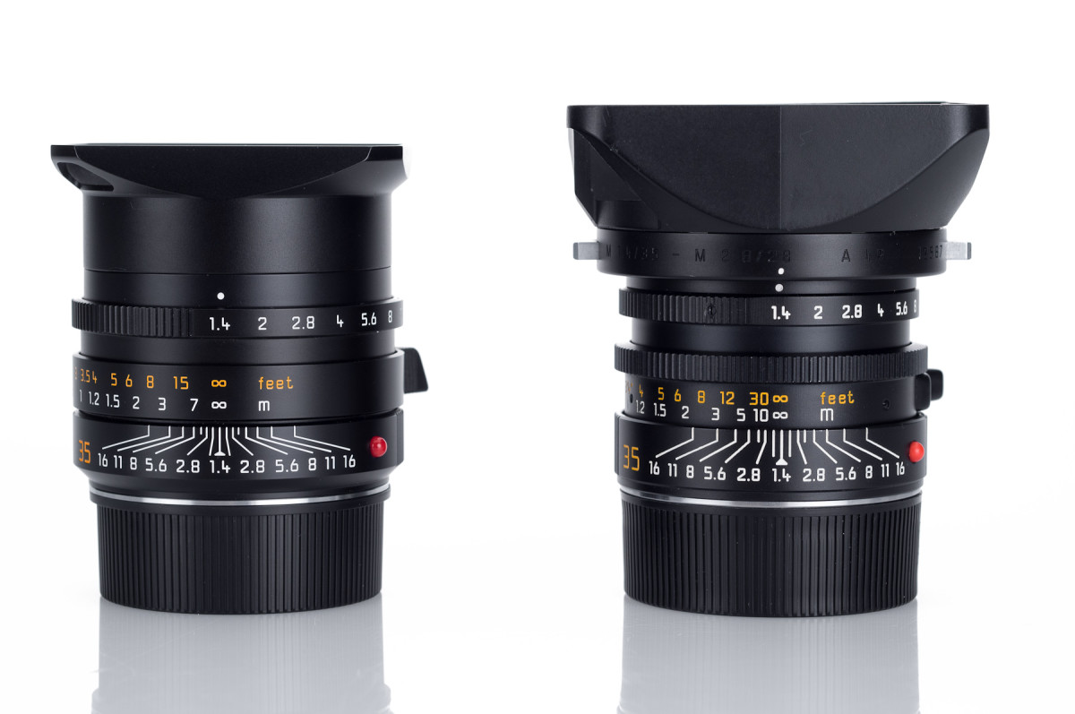 On the left, the modern Leica Leica Summilux-M 35mm f/1.4 ASPH FLE. On the right is the Leica Summilux-M 35mm f/1.4 Aspherical.