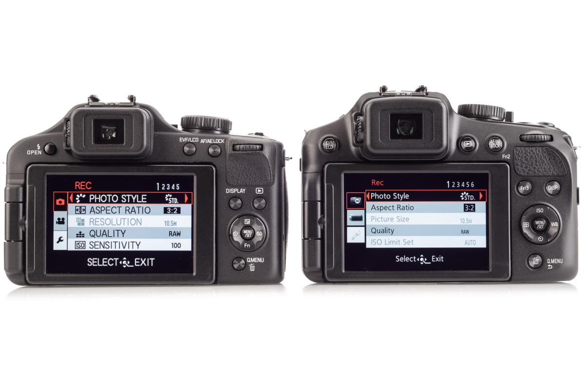 Leica V-Lux 3 on left, the new Leica V-Lux 4 on right. The menu system has been overhauled to be more logical and easier to read.