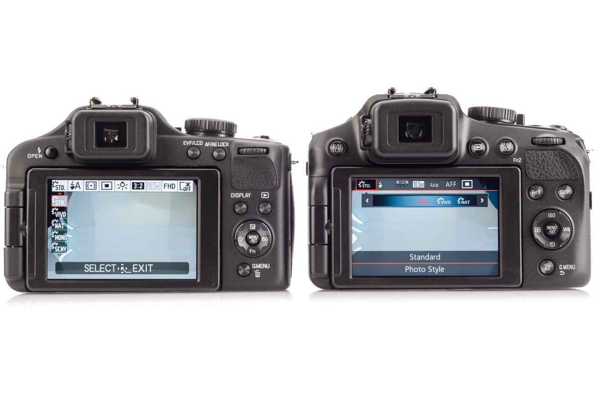 Leica V-Lux 3 on left, the new Leica V-Lux 4 on right. The new Quick Menu is simpler to use.