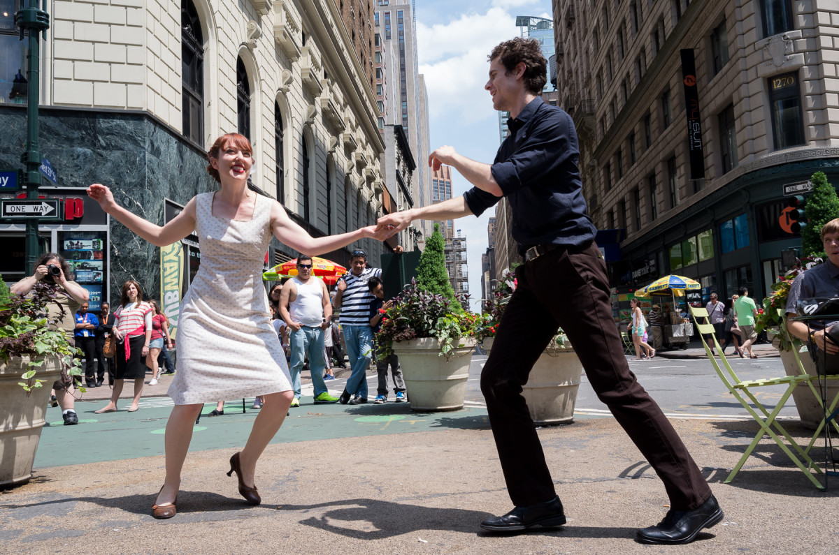 Swing dancing in the street, NYC Leica X Vario (Typ 107), 28-70mm @ 28mm, 1/800th @ f/6.3, ISO 200