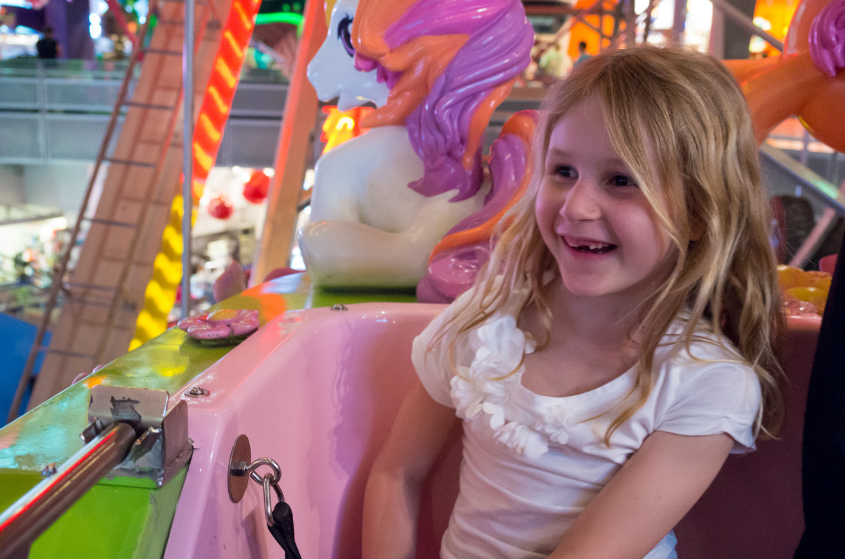 Sophia riding the ferris wheel inside Toys R Us Times Square Leica X Vario (Typ 107), 28-70mm @ 40mm, 1/60th @ f/4.6, ISO 3200