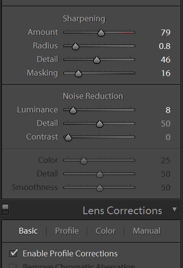 LR sharpening settings