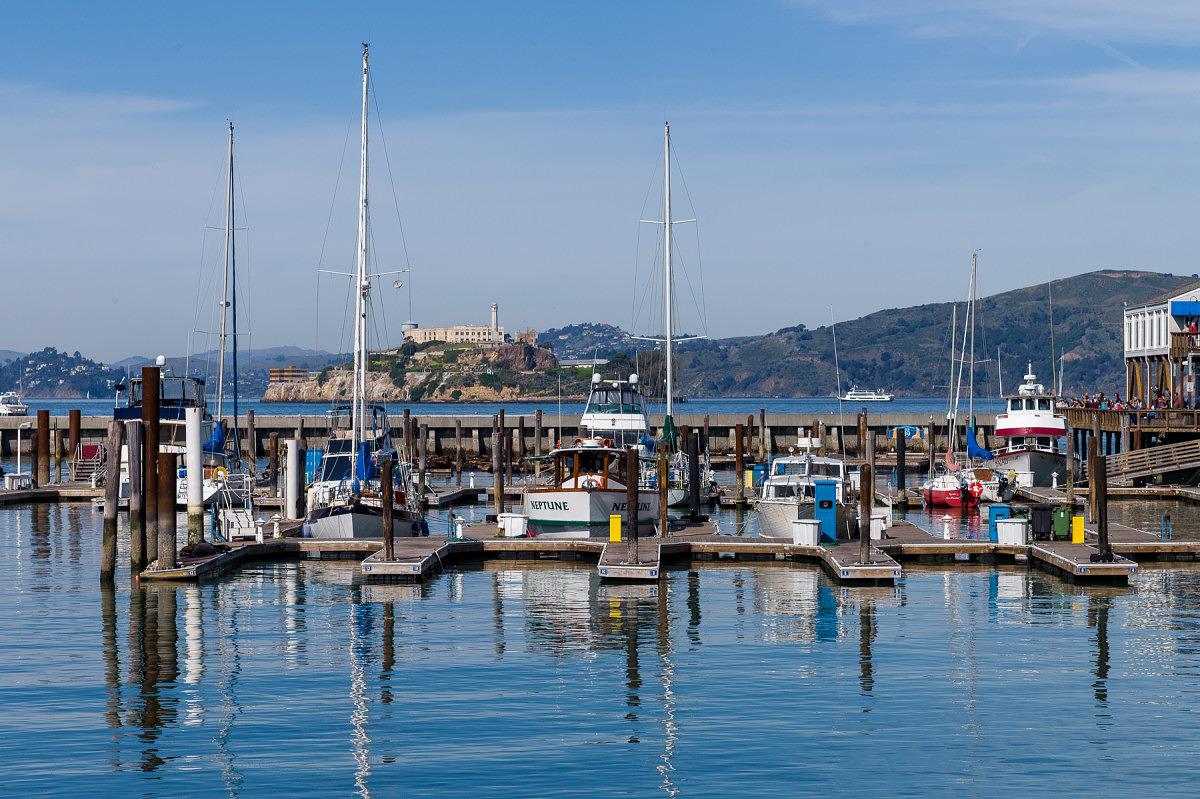 Sailboats in front of Alcatraz - 1