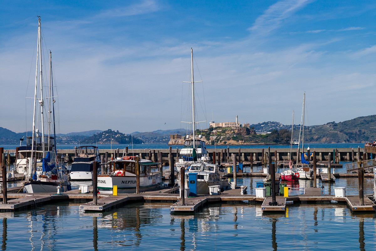 Sailboats in front of Alcatraz - 2