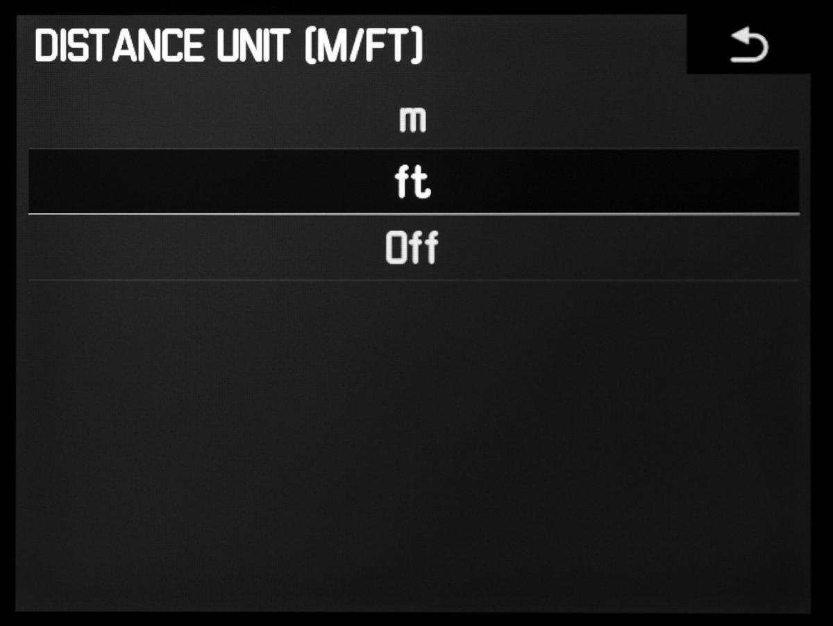 You can now select meters or feet for the DOF display